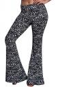 Womens Digital Printed High Waist Flare Bottom Pants Black
