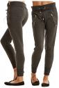 Womens Zipper Tight Drawstring Sports Wear Pants Dark Gray