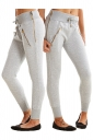 Womens Zipper Tight Drawstring Sports Wear Pants Light Gray