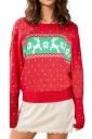 Long Sleeve Crew Neck Reindeer Printed Christmas Sweater Red