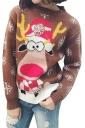 Snowflake&Reindeer Printed Crew Neck Christmas Sweater Brown