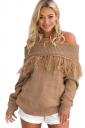 Sexy Off Shoulder Fringe Long Sleeve Plain Sweater Coffee