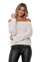 Sexy Off Shoulder Lace Up Sleeve Knit Sweater Gray
