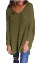 Women Oversized V-Neck Long Sleeve Plain Sweater Army Green