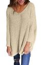 Women Oversized V-Neck Long Sleeve Plain Sweater Apricot