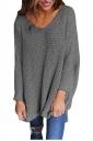 Women Oversized V-Neck Long Sleeve Plain Sweater Gray