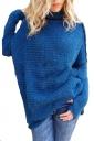 Women Oversized High Collar Knit Sweater Blue