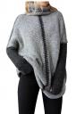 Women Oversized High Collar Knit Sweater Gray