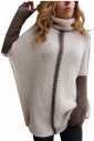 Women Oversized High Collar Knit Sweater Pink