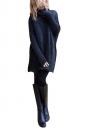 Women Oversized High Collar Knit Sweater Navy Blue
