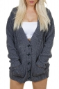 Womens V-Neck Batwing Sleeve Pocket Cardigan Sweater Coat Dark Gray