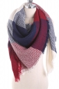 Color Block Fringe Tartan Plaid Scarf Ruby