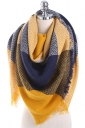 Color Block Fringe Tartan Plaid Scarf Navy Yellow