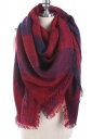 Color Block Tartan Plaid Scarf With Fringe Ruby