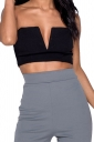 Women Sexy Deep V-Neck Wrap Corset Plain Crop Top Black