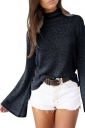 High Collar Flare Sleeve Open Back Lace Up Knit Top Black