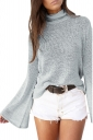 High Collar Flare Sleeve Open Back Lace Up Knit Top Gray