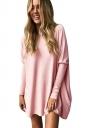 Women Crew Neck Tight Sleeve Plain Sleeve Shirt Pink