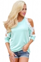 Women Sexy Lace Trim Cold Shoulder Long Sleeve T-Shirt Light Blue
