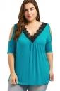 Women Cold Shoulder V-Neck Lace Oversized Half-Sleeve Blouse Blue