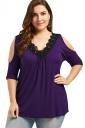 Women Cold Shoulder V-Neck Lace Oversized Half-Sleeve Blouse Purple