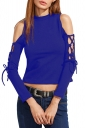 Women Sexy Cross Lace Up Cut Out Long Sleeve Plain Crop Top Blue