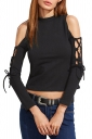 Women Sexy Cross Lace Up Cut Out Long Sleeve Plain Crop Top Black