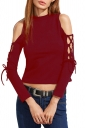 Women Sexy Cross Lace Up Cut Out Long Sleeve Plain Crop Top Ruby