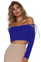 Women Eyelet Cross Lace Up Off Shoulder Long Sleeve Crop Top Blue