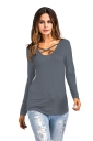 Sexy Lace Up Cut Out Long Sleeve Floral Printed T-Shirt Gray