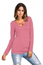 Sexy Lace Up Cut Out Long Sleeve Floral Printed T-Shirt Pink