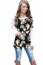 Womens Floral Printed Long Sleeve Crew Neck T-Shirt Black