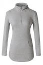 Womens High Collar Zipper Pocket Corset Plain T-Shirt Light Gray