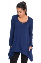 Womens Long Sleeve Asymmetrical Hem Pocket Plain T-Shirt Blue