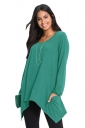 Womens Long Sleeve Asymmetrical Hem Pocket Plain T-Shirt Green