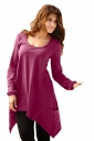 Womens Long Sleeve Asymmetrical Hem Pocket Plain T-Shirt Purple