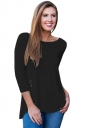 Womens Elastic Slit High Low 3/4 Length Sleeve Crew Neck T-Shirt Black