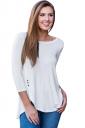 Womens Elastic Slit High Low 3/4 Length Sleeve Crew Neck T-Shirt White
