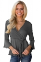 Womens V-Neck Lace Up Tunic 3/4 Length Bell Sleeve T-Shirt Gray