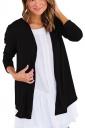 Womens Oversized Casual Long Sleeve Plain Trench Coat Black