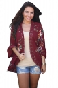 Womens Vintage Lace Bell Sleeve Floral Printed Trench Coat Ruby