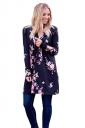 Womens Kimono Long Sleeve Pockets Floral Printed Trench Coat Black