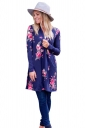 Womens Kimono Long Sleeve Pockets Floral Printed Trench Coat Navy Blue