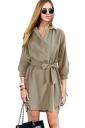 Womens Elegant Tailored Bandage 3/4 Length Sleeve Trench Coat Khaki