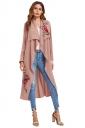 Womens Elegant Embroidered Bandage Ruffle Midi Trench Coat Pink