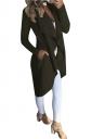 Womens Skinny Slant Pocket Asymmetrical Hem Tunic Trench Coat Army Green