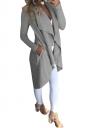 Womens Skinny Slant Pocket Asymmetrical Hem Tunic Trench Coat Gray