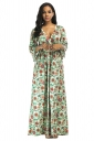 Womens Sexy Plus Size Deep V Floral Printed Maxi Dress Dark Green