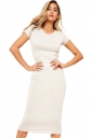Womens Skinny Plain Crew Neck Short Sleeve Midi Dress White