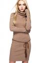 Womens Elegant Turtleneck Bodycon Plain Knit Sweater Dress Khaki